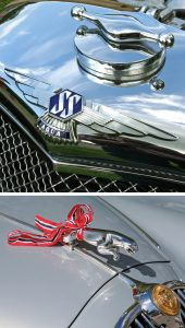 Øverst: Førkrigs SS-Jaguar radiatorpynt på en SS100. Nederst: Leaperen kler flaggfargene rødt-hvitt-og-blått.