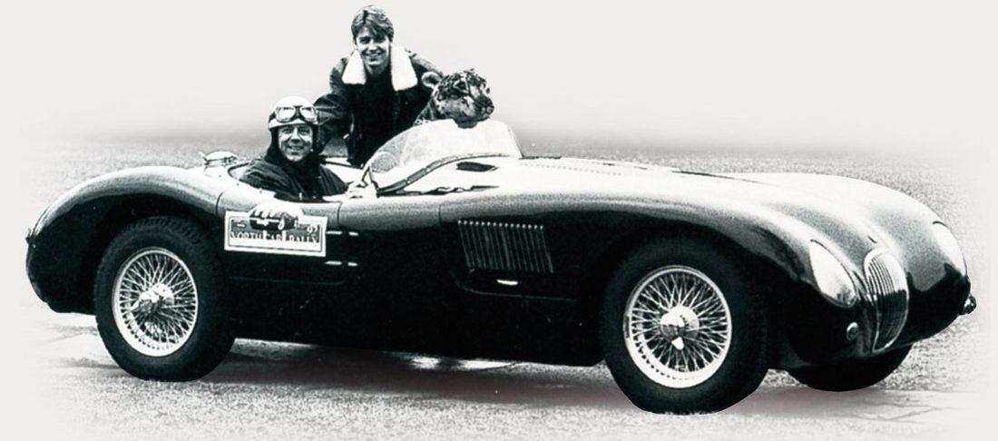 """Arrangørene bak Norgeshistoriens til nå største Jaguararragement """"North Cape Rally"""" 1992 sees her i C-type replica, Morten Ydalus og Kai Fellkjær."""