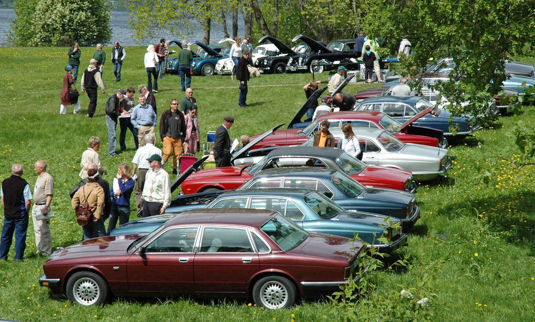 Sommermøtet på Hamar, oversikt over Domkirkeodden der Jaguarene sto samlet nær 50 i tallet, flott skue!