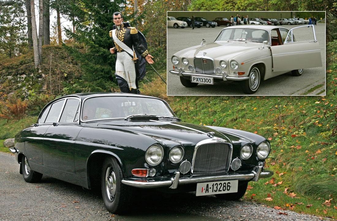 En meget velbevart Jaguar Mark X, solgt ny i Norge. Innfelt en like velholdt Jaguar 420 G – merk forskjellen i grillen og forkrommet pyntelist langs siden.