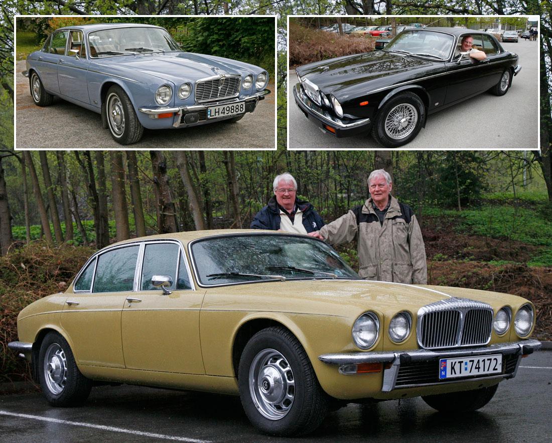 XJ Serie 2 i tre versjoner: XJ12 Saloon, XJ6 2-dørs Coupé og Daimler. Merk de spesielle 70-talls lakkfargene Lavender Blue og Green Sand!